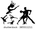 dancers silhouettes   Shutterstock .eps vector #385311211