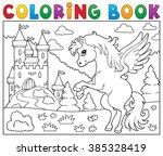 coloring book pegasus near... | Shutterstock .eps vector #385328419
