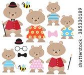 cute bear family vector... | Shutterstock .eps vector #385330189