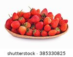 Strawberry In Basket On White...