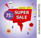 super sale paper banner. big...   Shutterstock .eps vector #385349701