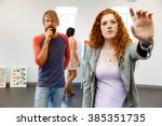 young artists in gallery... | Shutterstock . vector #385351735