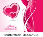 pink valentine heart background ... | Shutterstock .eps vector #385364011
