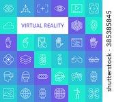 outline art virtual reality...   Shutterstock .eps vector #385385845