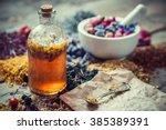 tincture bottle  mortar of... | Shutterstock . vector #385389391