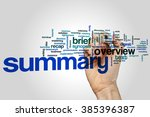 summary word cloud concept | Shutterstock . vector #385396387