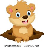 cute groundhog cartoon | Shutterstock .eps vector #385402705