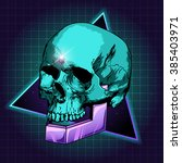sci fi illustration of skull.... | Shutterstock .eps vector #385403971