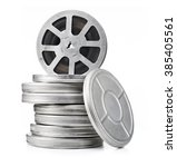 vintage movie reels isolated | Shutterstock . vector #385405561
