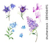 watercolor purple flowers... | Shutterstock . vector #385406491