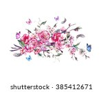 watercolor spring greeting card ... | Shutterstock . vector #385412671