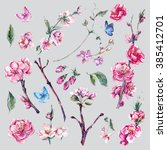 set of watercolor spring nature ... | Shutterstock . vector #385412701