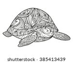 turtle coloring book for adults ... | Shutterstock . vector #385413439