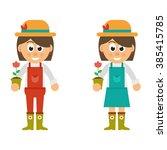 cartoon woman with hat set | Shutterstock .eps vector #385415785