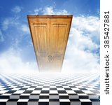 Small photo of Illusory landscape with a checkerboard floor and a closed door