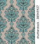 Turquoise damask background - stock photo