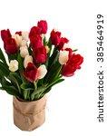 tulip flowers. bouquet of red... | Shutterstock . vector #385464919