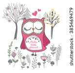 owl vector cute cartoon... | Shutterstock .eps vector #385469479