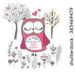 cute owl vector.cartoon...   Shutterstock .eps vector #385469479