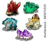 set of natural minerals. gems.... | Shutterstock .eps vector #385471525