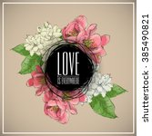 floral card.sketch style.... | Shutterstock .eps vector #385490821