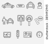vector outline icon of taxi....