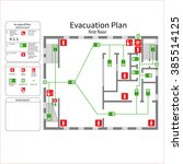 evacuation plan   first floor | Shutterstock .eps vector #385514125