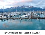 seward pier in alaska during... | Shutterstock . vector #385546264