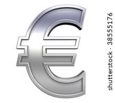 Euro sign from chrome with frame alphabet set, isolated on white. Computer generated 3D photo rendering. - stock photo