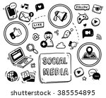 social media themed doodle... | Shutterstock . vector #385554895