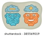 negative thinking  positive... | Shutterstock .eps vector #385569019