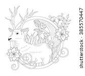 deer coloring book | Shutterstock .eps vector #385570447