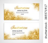 gold wedding glitter invitation ... | Shutterstock .eps vector #385571917