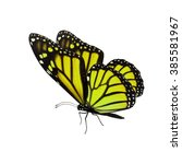 Stock photo beautiful yellow monarch butterfly isolated on white background 385581967