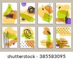 set of universal cards. hand... | Shutterstock .eps vector #385583095