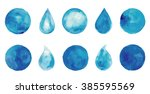 set of watercolor blue splashes ... | Shutterstock .eps vector #385595569