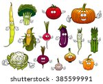farm cartoon ripe tomato and... | Shutterstock .eps vector #385599991