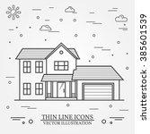 vector thin line icon  suburban ... | Shutterstock .eps vector #385601539