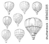hot air balloons in flight with ... | Shutterstock .eps vector #385602205