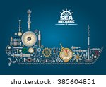 ship silhouette made of... | Shutterstock .eps vector #385604851