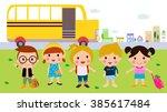 children and school bus | Shutterstock .eps vector #385617484