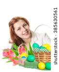 pretty girl and a basket with... | Shutterstock . vector #385630561
