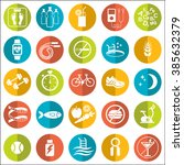 set of flat vector icons with... | Shutterstock .eps vector #385632379