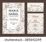 wedding set. menu  save the... | Shutterstock .eps vector #385642249