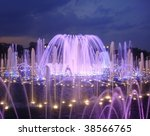 Great violet fountain at night