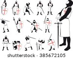 set of silhouettes of crusader... | Shutterstock . vector #385672105