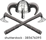 viking helmet and ax | Shutterstock .eps vector #385676395