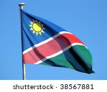 national flag of namibia on the ... | Shutterstock . vector #38567881