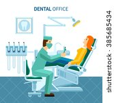 scene in dental office of... | Shutterstock .eps vector #385685434