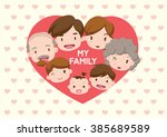 family illustration _ heart in... | Shutterstock .eps vector #385689589